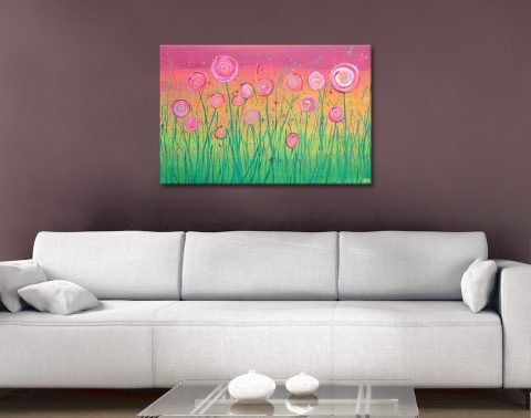 Buy Pink Floral Fields Art Great Gift Ideas AU