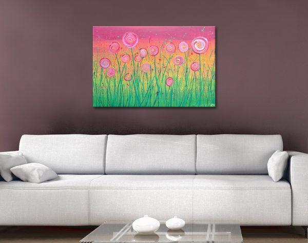 Buy Pink Floral Fields Art Great Gift Ideas AU