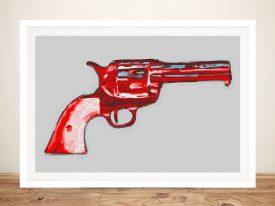 Andy warhol gun Framed Wall Art