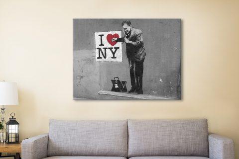 banksy loves ny black and white Canvas Artwork