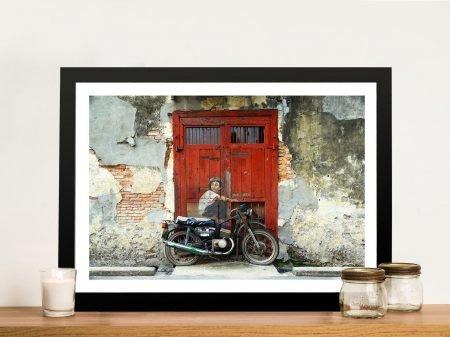 Boy on Bike Framed Wall Art Decor