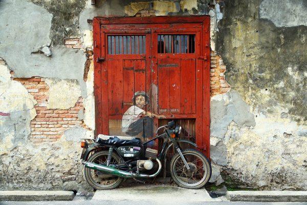 Boy on bike Graffiti canvas print