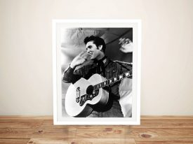 Buy a Black & White Elvis Framed Canvas Print