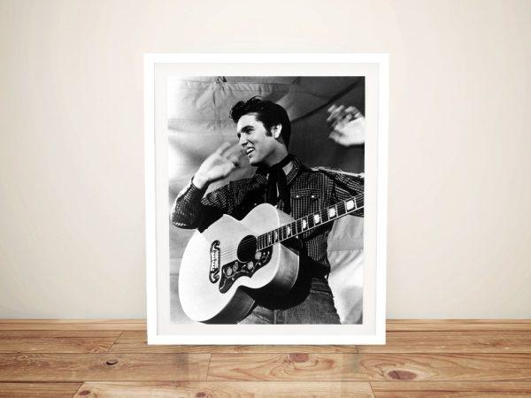 Buy a Black & White Elvis Framed Canvas Print