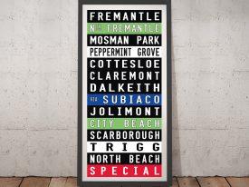 Fremantle Coloured Bus sign Framed Wall Art