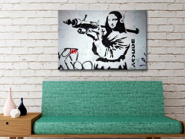 mona Lisa bazooka banksy Canvas print