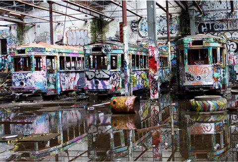 Old Abandoned Glebe Tram Depot Graffiti Photo Canvas Prints Australia