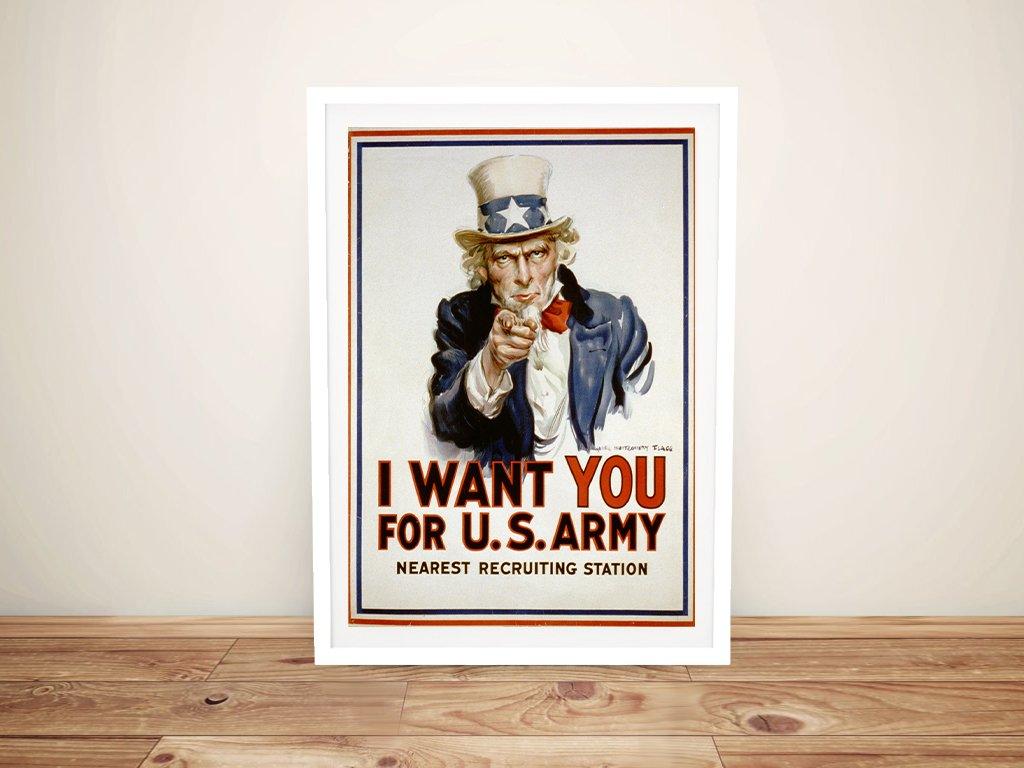 uncle sam recruitment poster Framed Wall Art