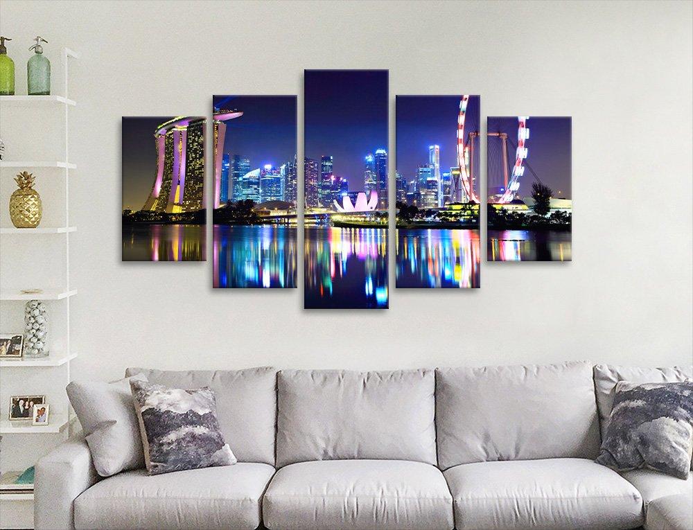 Ready to Hang Singapore Skyline 5-Panel Art