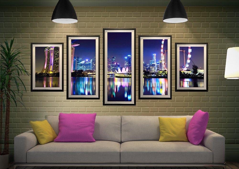 Singapore Skyline Split Panel Art for Sale
