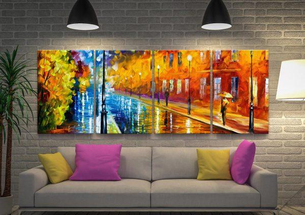Blue Lights Canvas Quad Split Gift Ideas AU