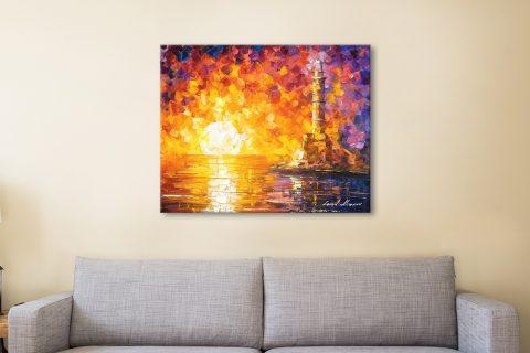 Lighthouse & Sunset Colourful Canvas Art