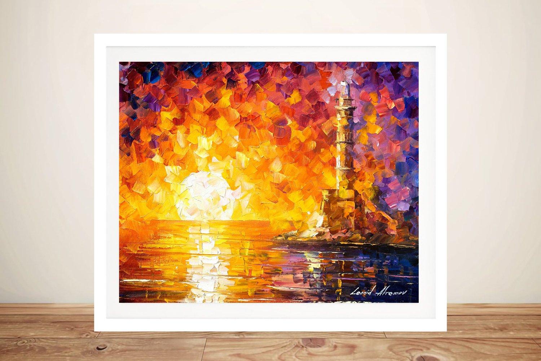 lighthouse & Sunset Framed Painting Print