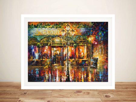 Misty Cafe Afremov Framed Wall Art Australia