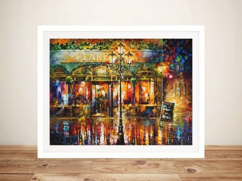 Misty Cafe Afremov Framed Wall Art Australia