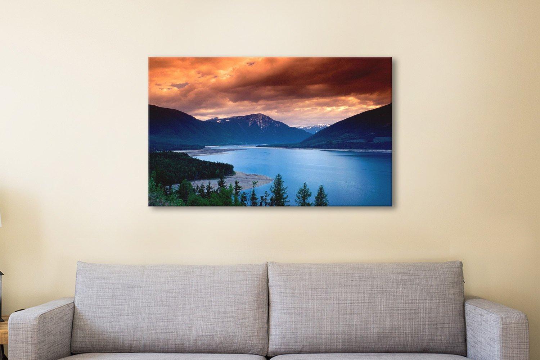 Mountain Lake Sunset Art Home Decor Ideas