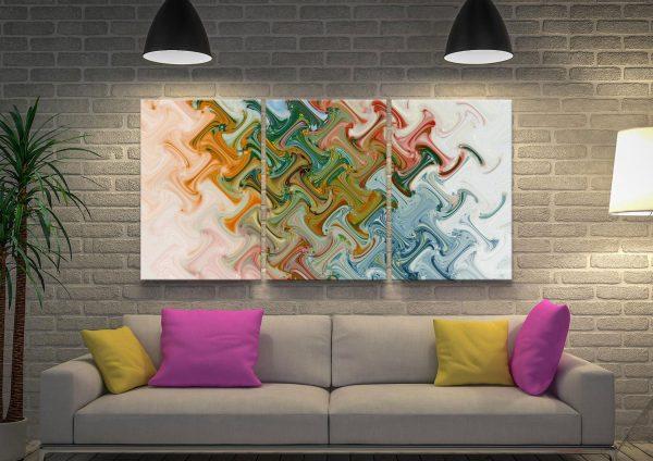 Ready to Hang Split Panel Abstract Art AU