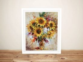 Sunflowers of Happiness Afremov Framed Wall Art
