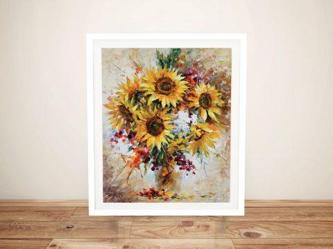 Sunflowers of Happiness Afremov Framed Wall Art