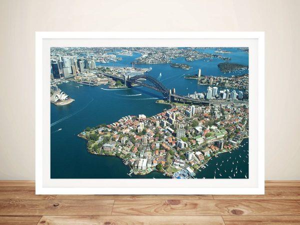 Sydney Harbour Bridge from the air Framed Wall Art