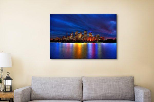Sydney Skyline Quality Stretched Canvas Print