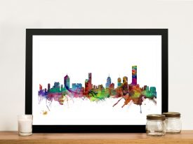 Buy Melbourne Skyline Watercolour Wall Art