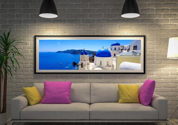 Buy a Panoramic Print of Santorini's Blue Domes