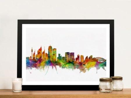 Sydney Australia Skyline Framed Wall Art