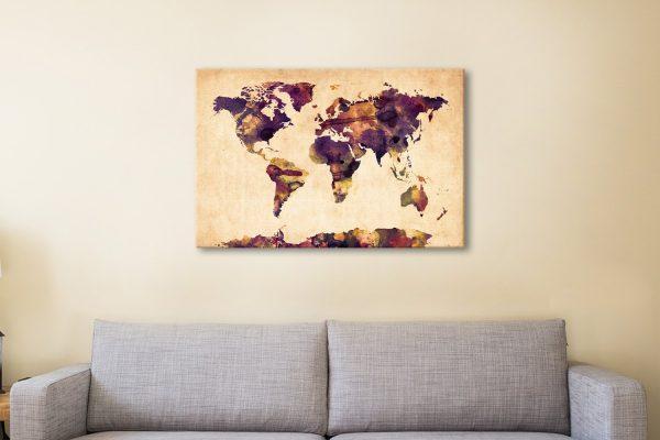World Map Watercolor Canvas Artwork