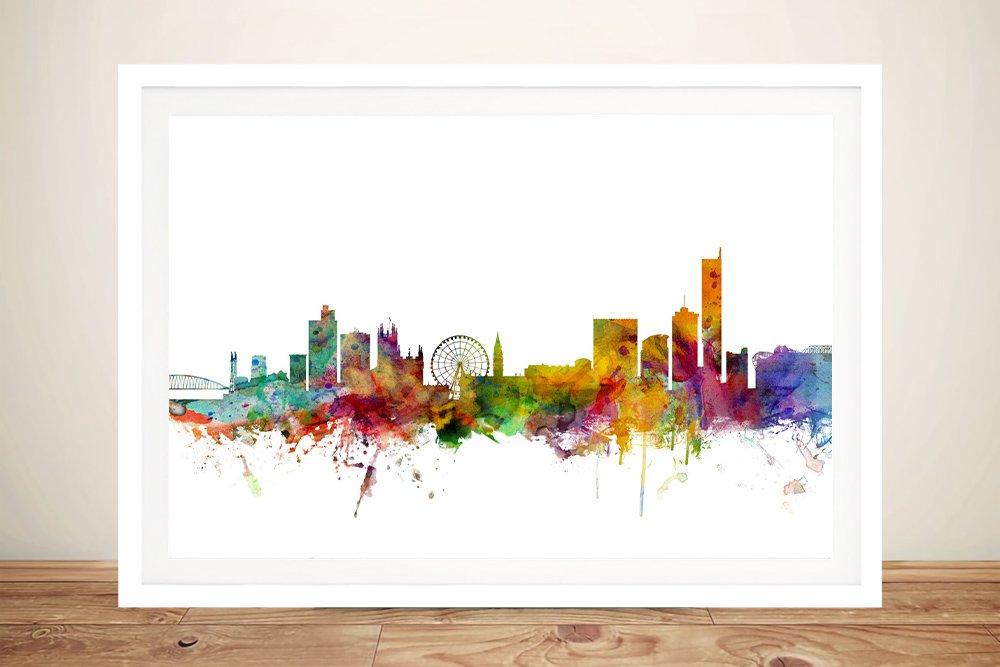Framed Watercolour Manchester Skyline Art