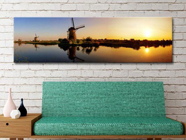 Buy Sunset Windmill Cheap Panoramic Art AU