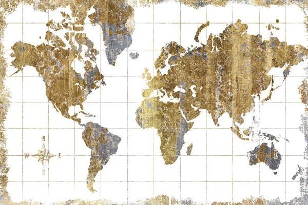Gilded Gold Map Framed Wall Art Print