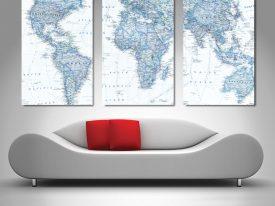 3 Panel world canvas print set