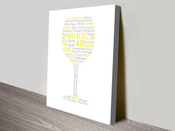 glass shaped word art gift