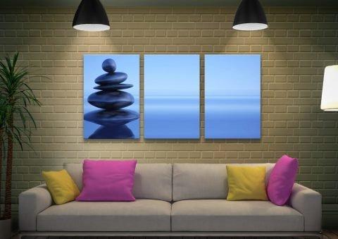 Blue Stones Split Panel Calming Art for Sale