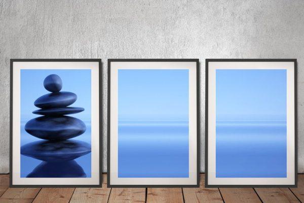Blue Stones Framed Triptych Art Online