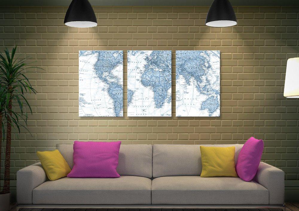 Blue Tone World Map Art Unique Gifts Online