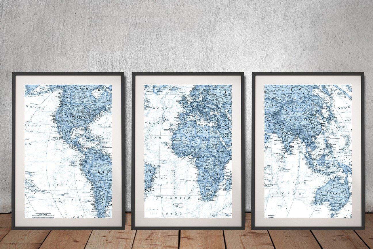 Framed Nat Geo World Map in Blue for Sale AU