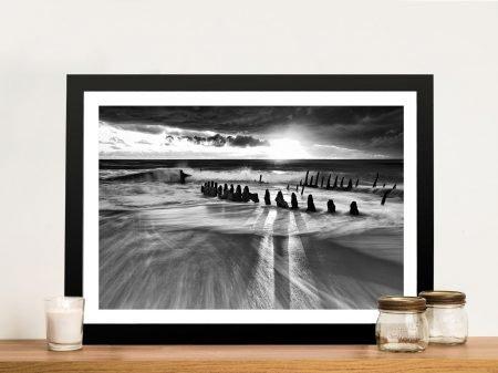Black and White Ocean Wall Art Print