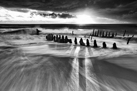Black and White Ocean Shipwreck Wall Art Print
