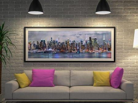 Illuminated Manhattan Skyline Framed Artwork