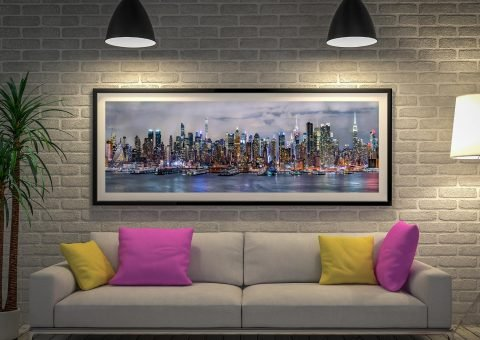 Illuminated Manhattan Skyline Framed Artwork