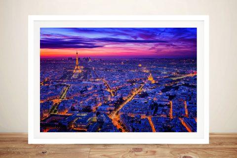 Framed Paris at Dusk Print on Canvas