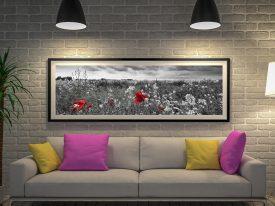 Buy Poppy Field a Panoramic Canvas Print