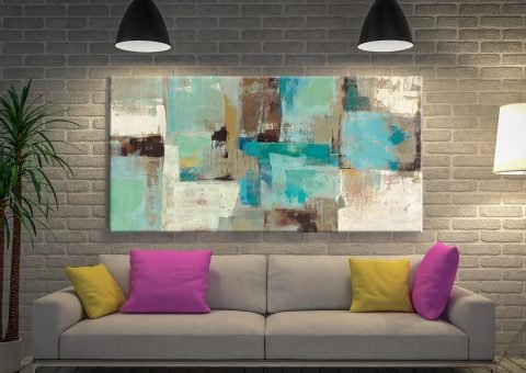 Teal and Aqua Silvia Vassileva Wall Art Sydney