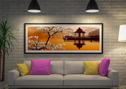 Sakura panoramic Canvas Framed Artwork
