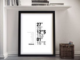 Brisbane Coordinates Framed Wall Art