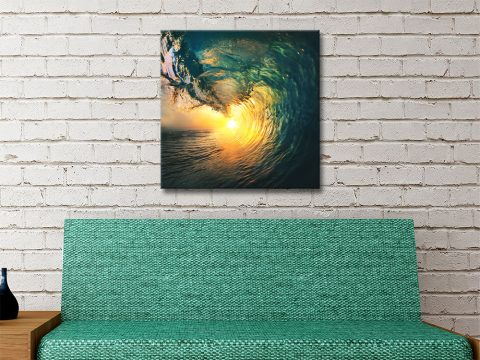 Surf Square Sunset Wave Ready to Hang Art