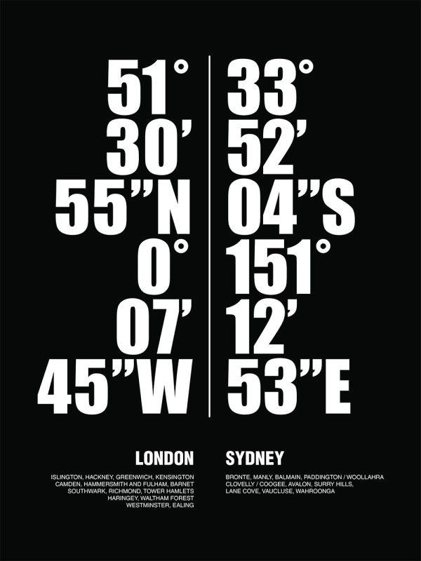 Sydney London Typographic Art Gift