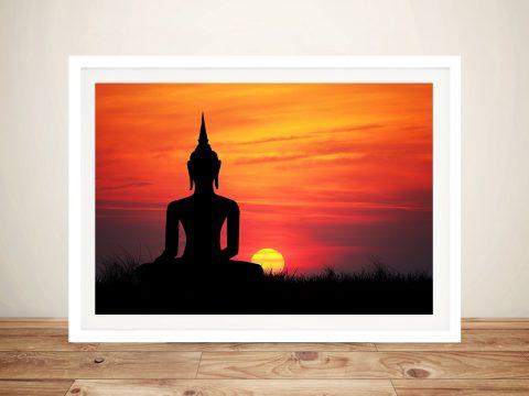 Buddha Sunset Framed Print Australia